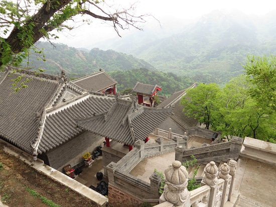 Anshan, China: Temple courtyard near 5 Buddha Peak cableway