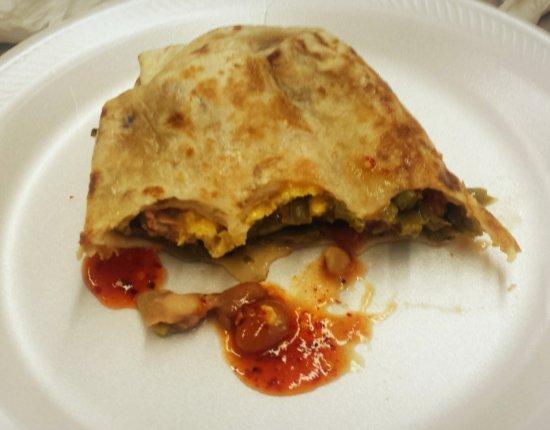 Sanger, CA: Nopales breakfast burrito. Very greasy.
