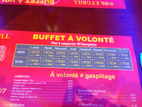 Bron, Frankreich: Menu tarifs
