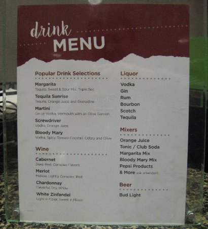 Drury Inn & Suites Middletown Franklin: Drink menu (three free for guests)