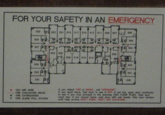 Drury Inn & Suites Middletown Franklin: Hotel room layout (fire escape plan)