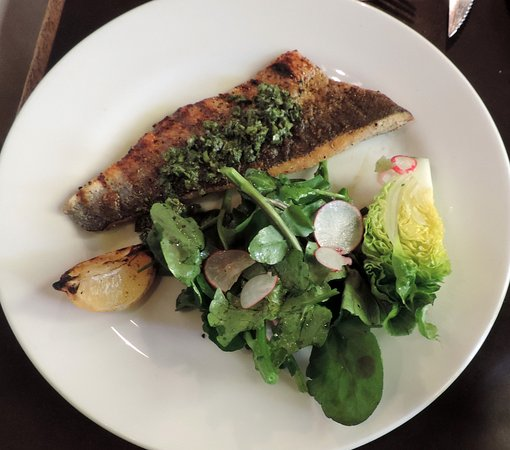 Bruton, UK: Sea bass with watercress and lettuce