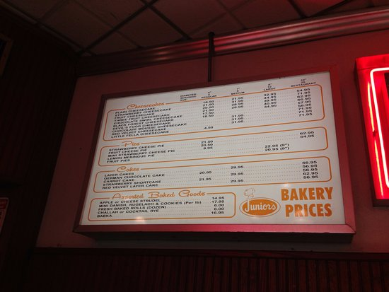Bakery menu picture of juniors restaurant brooklyn tripadvisor juniors restaurant bakery menu thecheapjerseys Images