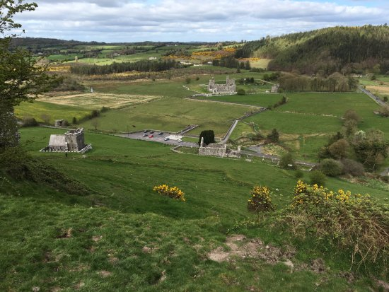 View of Fore Abbey ruins from the top of the steep hillside