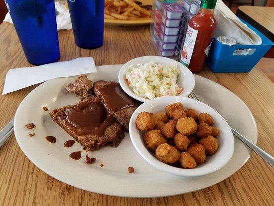 Ellenton, FL: Meatloaf, friedn okra and cole slaw