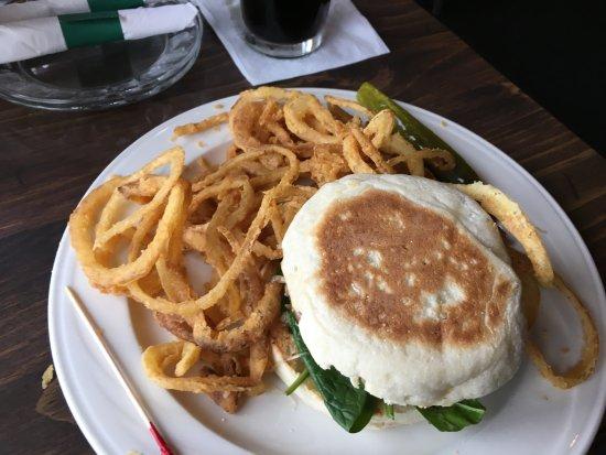 New London, NH: Lamb burger w onion rings
