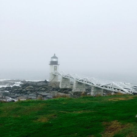 Port Clyde, ME: The view of the famous lighthouse on a foggy day.
