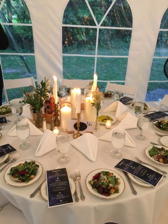 Oliverea, NY: Set table in the reception tent.