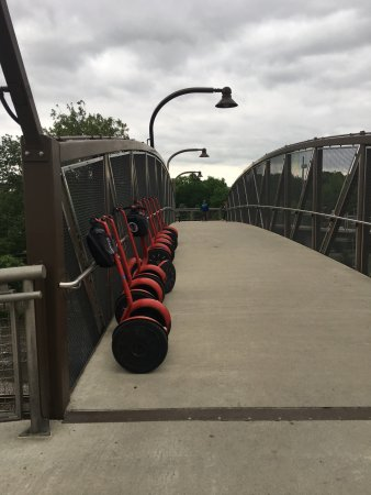 Philly Tour Hub: A picture of our segways lined up during our short break half way through the tour