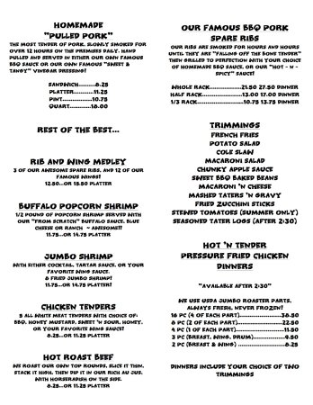 Villas, NJ: Menu 5/2017