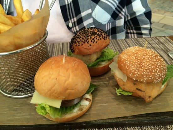 Olivos: mini chicken beef fish burgers