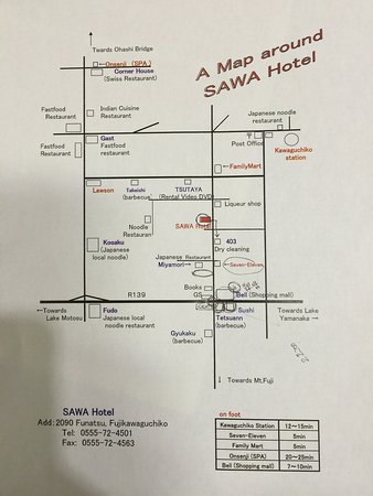 Map around Hotel Picture of Kawaguchi lake business resort Sawa