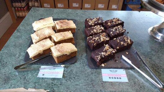 St Austell, UK: Salted caramel latte & beetroot brownie Allergen free!!! in the tearooms here :)