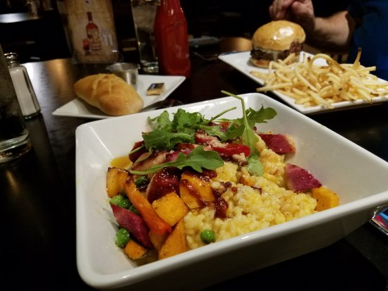 Black Pig: Risotto, burgers and fries.