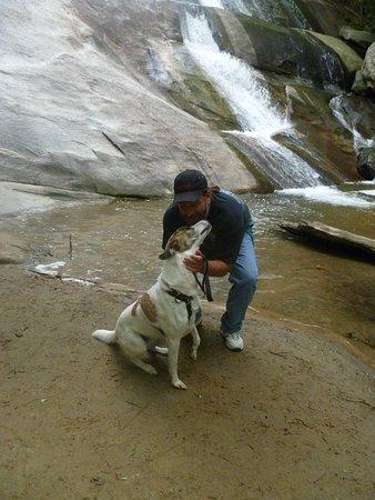 Roaring Gap, NC: Well worth the stairs. Dan & Chauncy enjoying the falls @ Stone Mountain