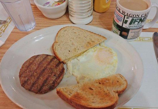 Vandalia, IL: One egg over medium, sausage and toast