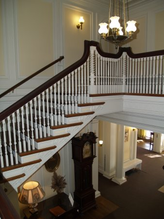 Manchester, VT: Staircase in the front entry at Hildene, Lincoln Family Home, Vermont