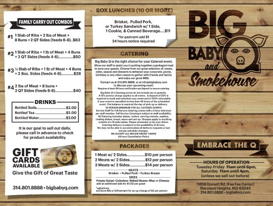 big baby q and smokehouse catering and family combos