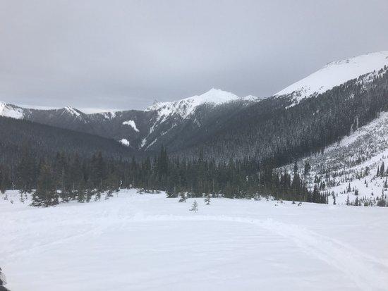 Golden, Kanada: Looking down the mountain (towards Hospital Peak, perhaps?) on the backcountry tour.