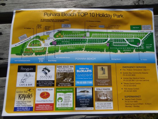 Pohara, Nya Zeeland: Holiday Park Map