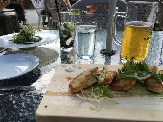 Bragg Creek, Canada: Pirogies and cucumber salad.