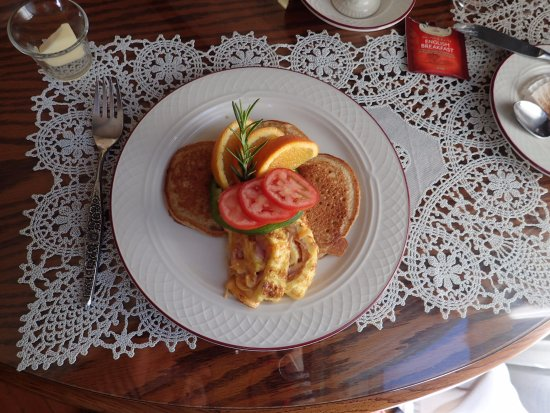 Americus, GA: Breakfast: Folded Omelette with Orange Pancakes (not shown: Pumpkin Muffins)