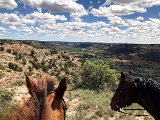 Cowgirls and Cowboys in the West: View over the canyon from horseback.