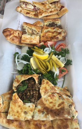 Pizza Pide: We tried an assortment: pepperoni, beef and spinach and a three pides in one! All delicious!