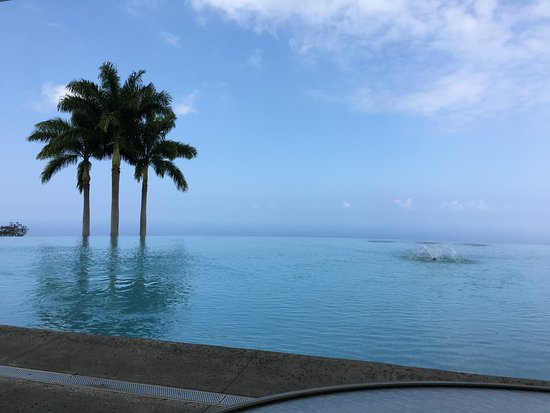 Mauka Meadows : Looking over the infinity pool with the Pacific Ocean in the background.