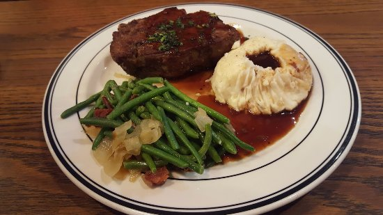 Santee, CA: Meat Loaf with Green Beans Onions & Bacon with Mashed Potatoes & Gravy