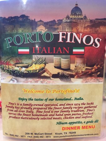 Porto Finos Italian Restaurant: Front of me u