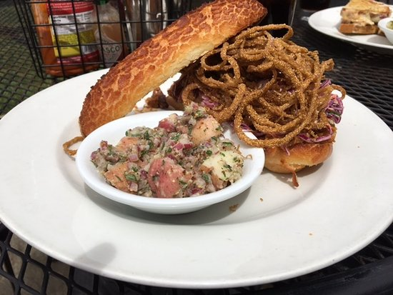 Healdsburg Bar & Grill: Barbecue pulled pork sandwich with crispy onions, coleslaw, and potato salad