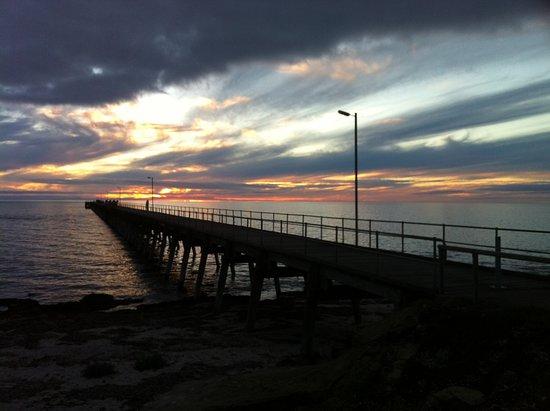 Port Hughes, Australia: Pt Hughes pier from the Tavern on sunset.