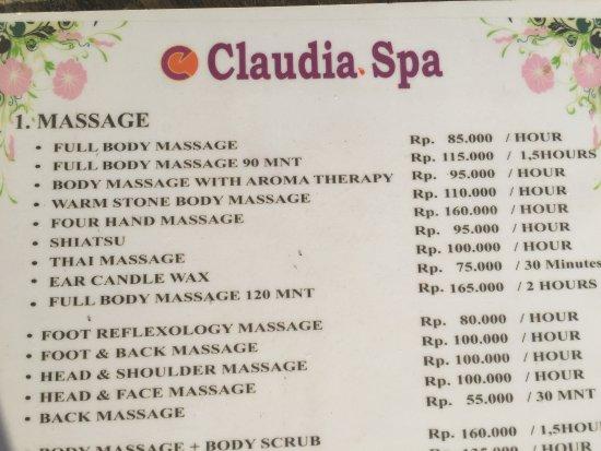 Claudia Spa: メニュー