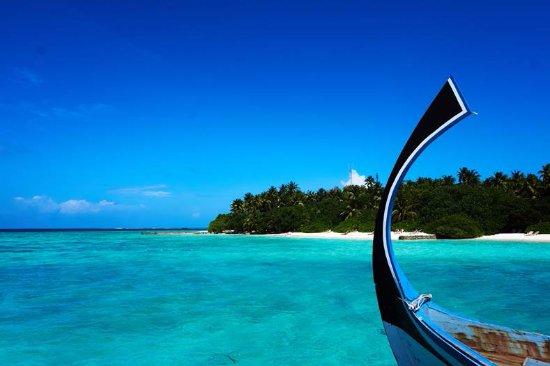 Makunudu Island: Dhoni and beach view