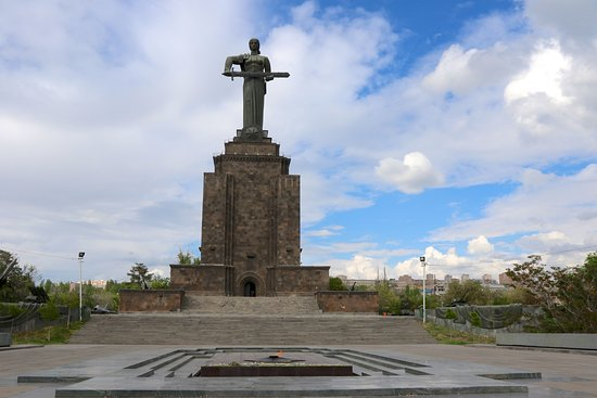 Map of modern day Armenia  Picture of Victory Park and Statue of