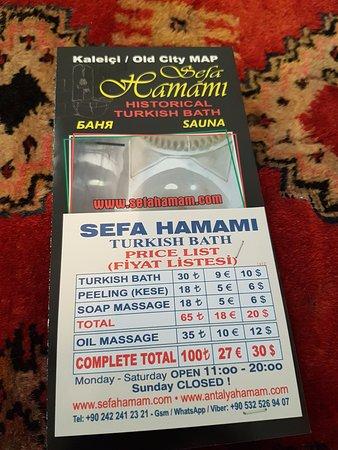 Sefa Hamam Antalya Price List