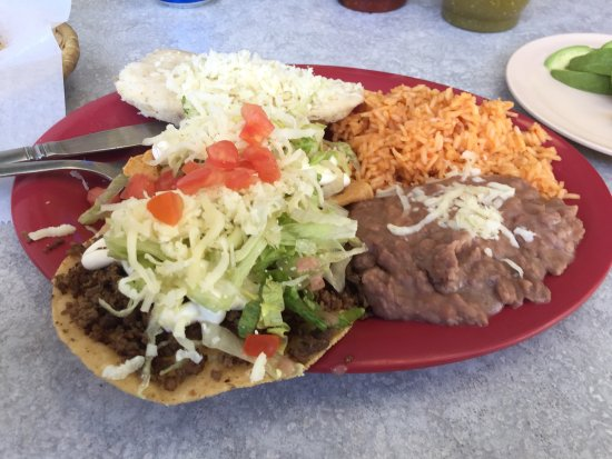 Westland, MI: #1 combo tostada, tamale and taco rice and beans