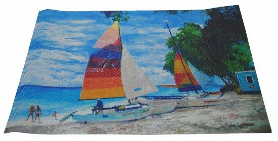 Holetown, Barbados: PVC placemat set /4 in Colourful Catamarans design