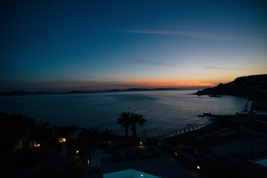 Mykonos Grand Hotel & Resort : The sunset was beautiful every single night and our room has a great view of it!