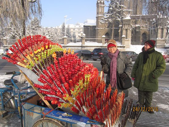 Jilin, China: Street vendors with colourful sweets