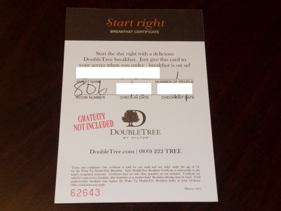 Voucher do caf da manh para clientes honors gold e diamond doubletree by hilton hotel new orleans airport voucher do caf da manh para clientes honors reheart Choice Image