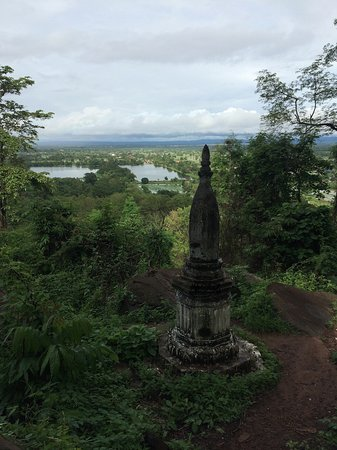 Vat Phou Temple: the view from the top of the stairs overlooking the temple lakes