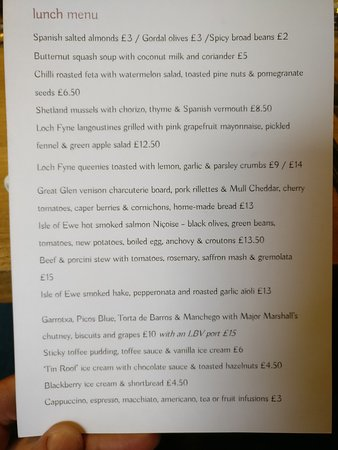 The Kilberry Inn - Restaurant with Rooms: Lunch menu