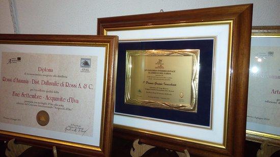 Revo, Italien: Alcuni dei riconoscimenti ricevuti dalle nostre grappe negli ultimi anni