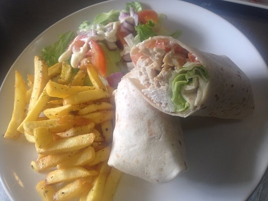 Haslingden, UK: All wraps come with chips and salad, from £4.50