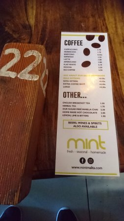 Mint : Meny på drickor