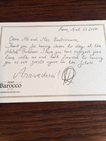 Goodbye Note From Hotel Staff  Picture Of Barocco Hotel Rome