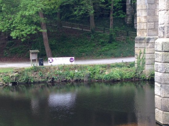 River Nidd Waterside Walk: View across river from base of rail bridge