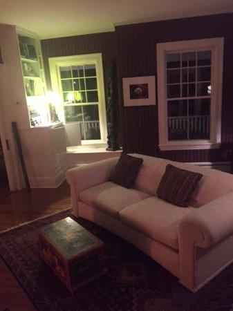 Southwest Harbor, ME: Living room, facing fireplace
